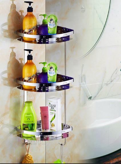 Полочка для ванной комнаты угловая настенная трех ярусная
