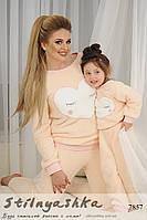 Махровый костюм Сердце мама-дочь персик
