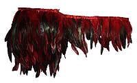 Перья декоративные петуха на ленте Красные с черным 25 см