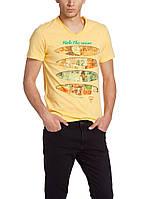 Мужская футболка LC Waikiki желтого цвета с надписью Ride the wave