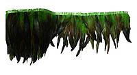 Перья декоративные петуха на ленте Зеленые с черным 25 см