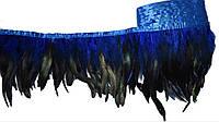 Перья декоративные петуха на ленте Синие с черным 25 см