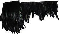 Перья декоративные петуха на ленте Черные радужные 23 см