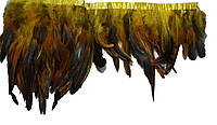 Перья декоративные петуха на ленте Желтые с черным 25 см