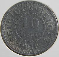 Монета Бельгии. 10 центов 1916 год