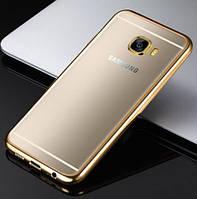 Прозрачный силиконовый чехол для Samsung J310 Galaxy J3 Pro с глянцевой окантовкой Золотой