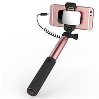 Телескопический монопод ROCK для селфи (кабель Lightning) + зеркало (6/6 Plus/6s/6s Plus /7/7 Plus) Розовый / Rose Gold