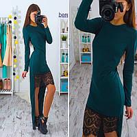 Платье с асимметричным низом и кружевом трикотаж 5 цветов 6SMb1016