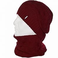 Шапка мужская с шарфом набор красный