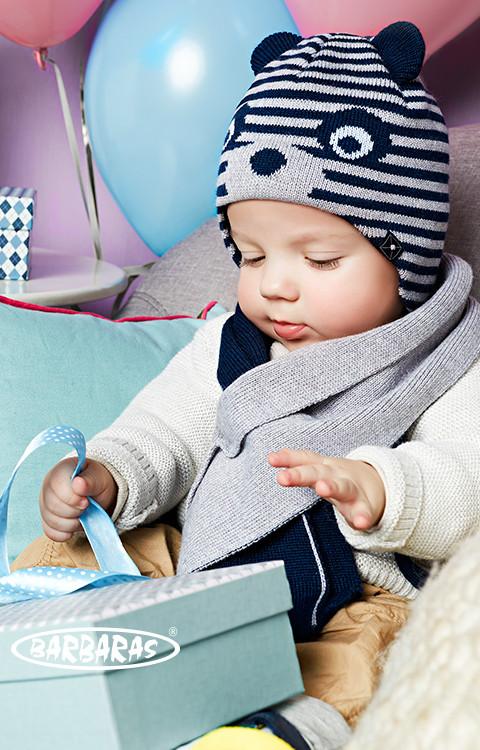 Детская теплая вязанная шапочка с ушками от BARBARAS Польша