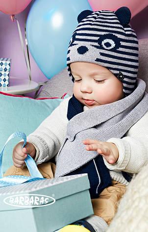 Детская теплая вязанная шапочка с ушками от BARBARAS Польша, фото 2