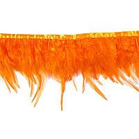 Перья декоративные петуха на ленте Оранжевые 25 см