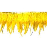 Перья декоративные петуха на ленте Желтые 25 см