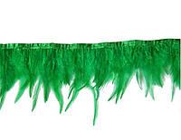 Перья декоративные петуха на ленте Зеленые 25 см