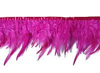 Перья декоративные петуха на ленте Фуксия 25 см