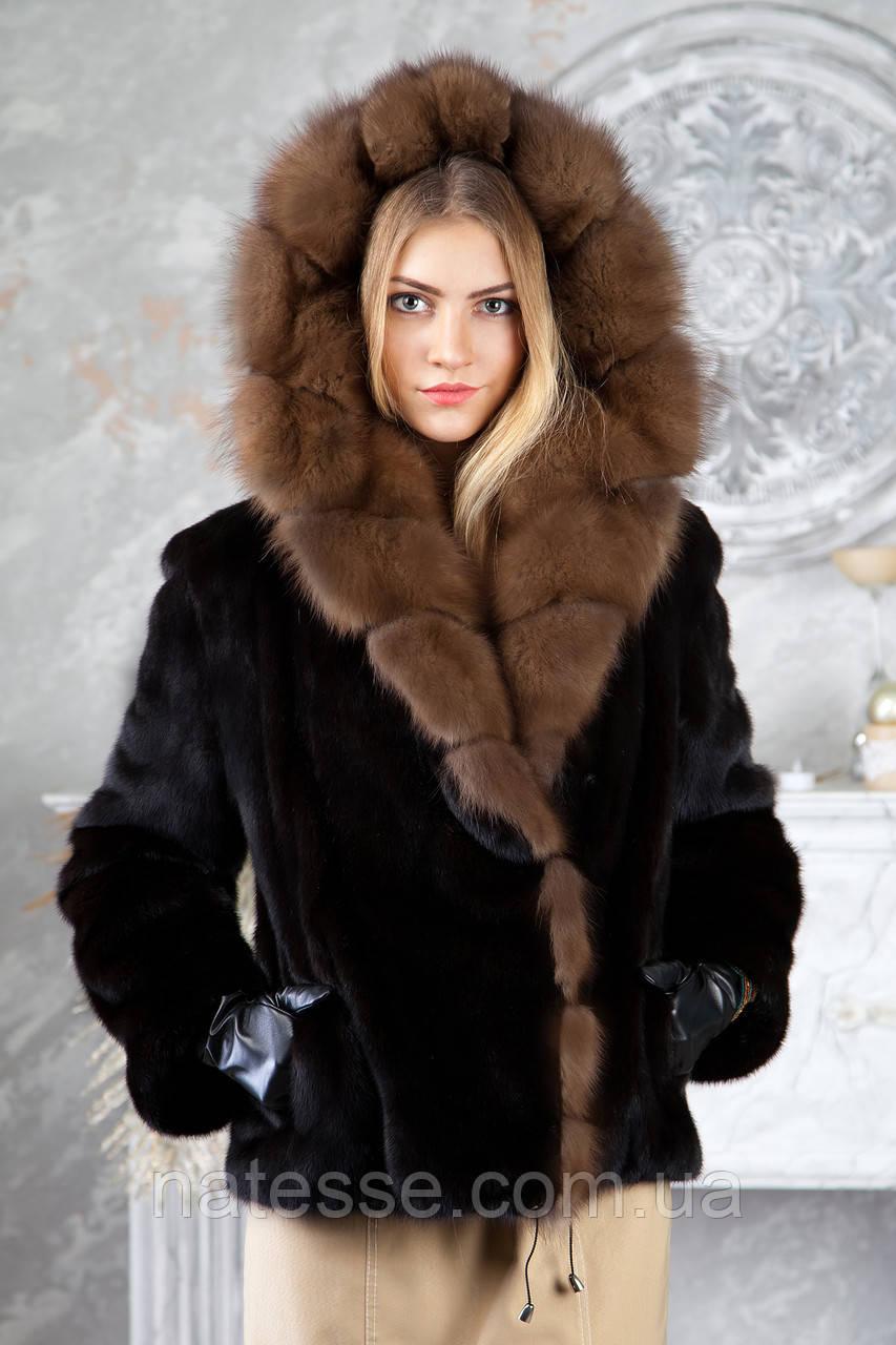 Шуба из норки BlackGlama с капюшоном из соболя Real mink fur coats jackets
