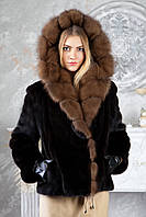 Шуба из норки BlackGlama с капюшоном из соболя Real mink fur coats jackets