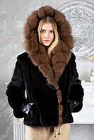 Шуба из норки BlackGlama с капюшоном из соболя Real mink fur coats jackets, фото 1
