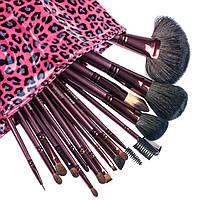 Набор профессиональных кистей Megaga Professional, 18 шт, розовый леопард