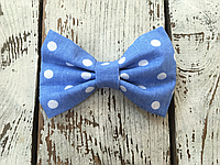Галстук-бабочка, голубая в белый горошек