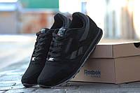 Мужские кроссовки Reebok черные / кроссовки мужские Рибок, замша + нубук, модные