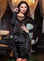 Красивое женское бархатное платье по колено. Состав: бархат, сетка, стразы. размер 42-50.