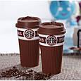 Чашка керамическая кружка StarBucks Brown коричневая стакан для кофе, чая, горячих напитков Star Bucks, фото 2