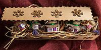 Подарочный набор в деревянной коробке со снежинками, натуральное варенье в ассортименте