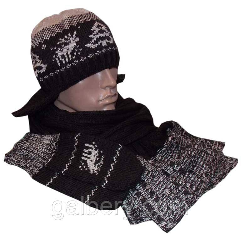 Чоловіча в'язана шапка - вушанка (утеплений варіант) з норвезьким орнаментом, шарф і рукавиці