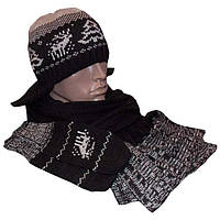 Мужская вязаная шапка - ушанка (утепленный вариант) с норвежским орнаментом, шарф и варежки