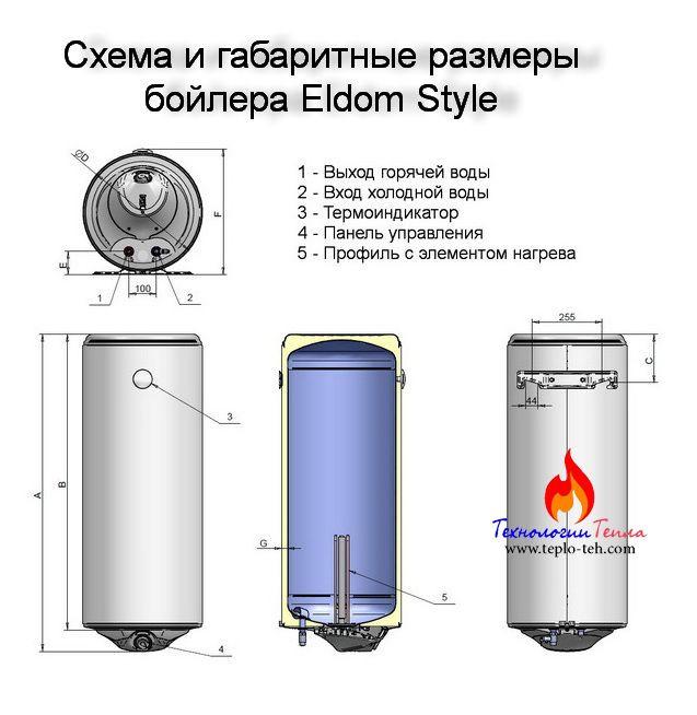 Схема и габариты электробойлера Элдом Стайл