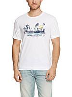 Мужская футболка LC Waikiki белого цвета с надписью Long beach, pacific coast