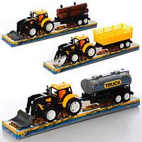 Пластмасовый трактор с прицепом 9980-1-3-4