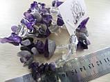 Браслет с натуральным камнем аметист и горный хрусталь., фото 4