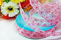 Декоративная лента розовые сердечки 2.5см