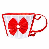 Чашка для цветов  красная 8,5 х12 см
