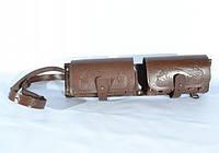 Патронташ на 24 патрона двухрядный кожаный коричневый