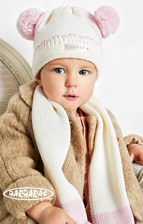 Детская теплая вязанная шапочка для крохи от BARBARAS Польша