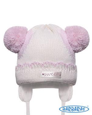 Детская теплая вязанная шапочка для крохи от BARBARAS Польша, фото 2