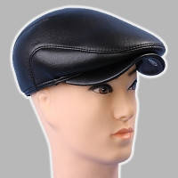 Мужская кепка чёрная из натур кожи 56 58 59 60