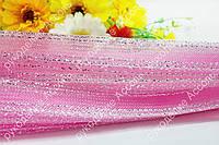 Регилин розовый 2см с люриксом серебро