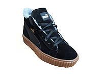 Женские зимние велюровые кожанные ботинки кроссовки Puma