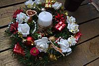 """Новогодний и рождественский венок на двери или стол """"Нежность вечера"""""""