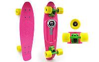 Скейтборд пластиковый Penny COLOR POINT FISH 22in с цветными болтами SK-403-1 (роз-зел-жел)