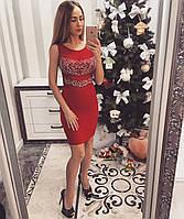 Красное женское платье с открытой спиной