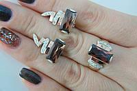 Серебряный комплект - кольцо и серьги из вставками золота и циркония