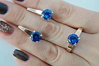 Серебряное кольцо и серьги с зеленым камнем и пластинами золота