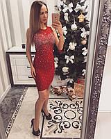 Вечернее женское платье в камнях с гипюром, фото 1