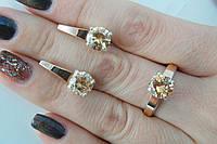 Красивый серебряный набор украшений с золотыми вставками