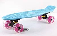 Скейтборд пластиковый Penny LED WHEELS FISH 22in со светящимися колесами SK-405-2 (син-черн-роз)
